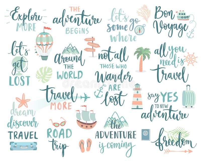 O projeto de rotulação do curso ajustou - a coleção de temas das escritas, da viagem, da viagem e da aventura ilustração royalty free