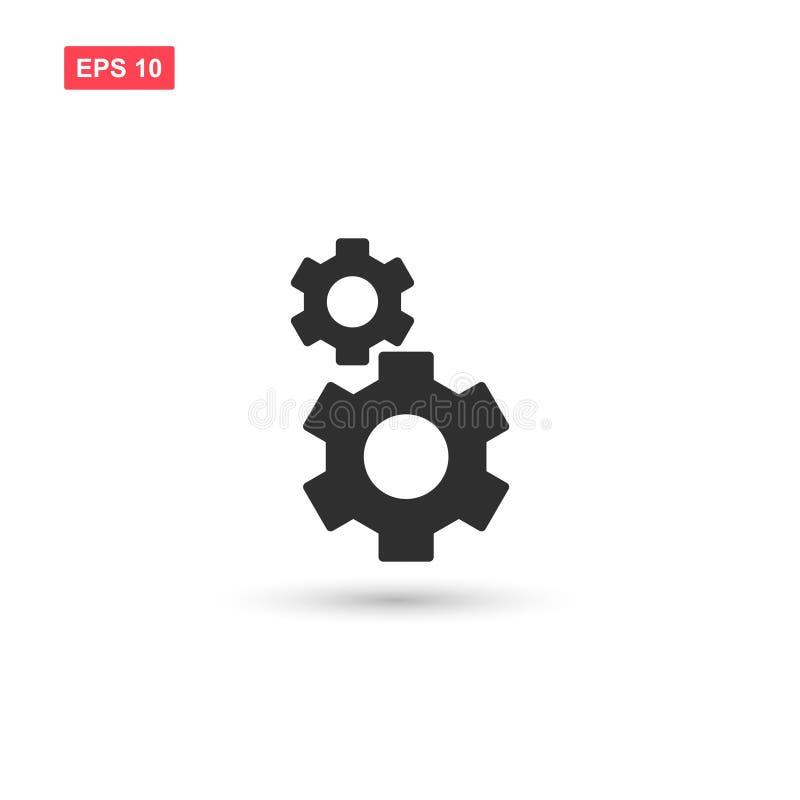 O projeto do ícone do vetor das rodas da roda denteada isolou-se ilustração royalty free