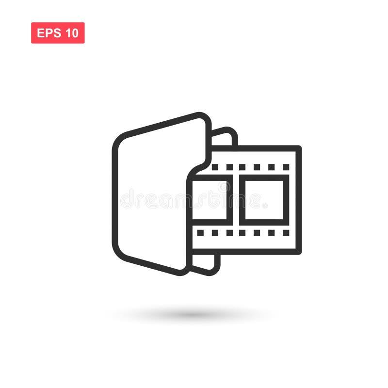 O projeto do ícone do vetor do dobrador do carretel de filme isolou 3 ilustração stock
