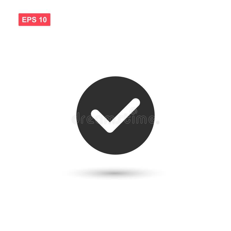 O projeto do ícone do vetor do sinal da verificação isolou-se ilustração stock