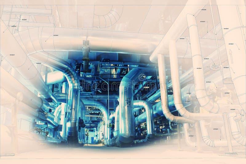 O projeto do encanamento do esboço misturou com a foto do equipamento industrial fotos de stock royalty free