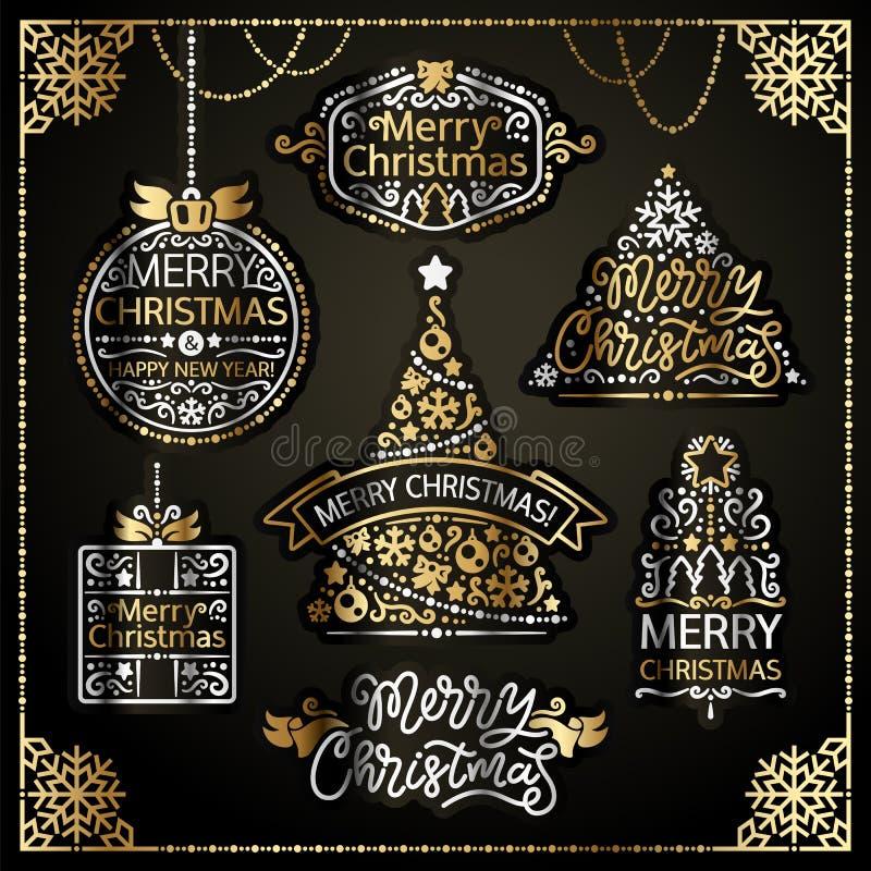 O projeto do Feliz Natal etiqueta o grupo dourado ilustração do vetor