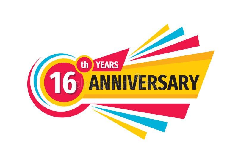 16o projeto do logotipo da bandeira do aniversário Dezesseis do aniversário anos de emblema do crachá Cartaz geom?trico abstrato ilustração do vetor