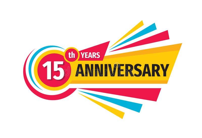 15o projeto do logotipo da bandeira do aniversário Quinze do aniversário anos de emblema do crachá Cartaz geom?trico abstrato ilustração stock