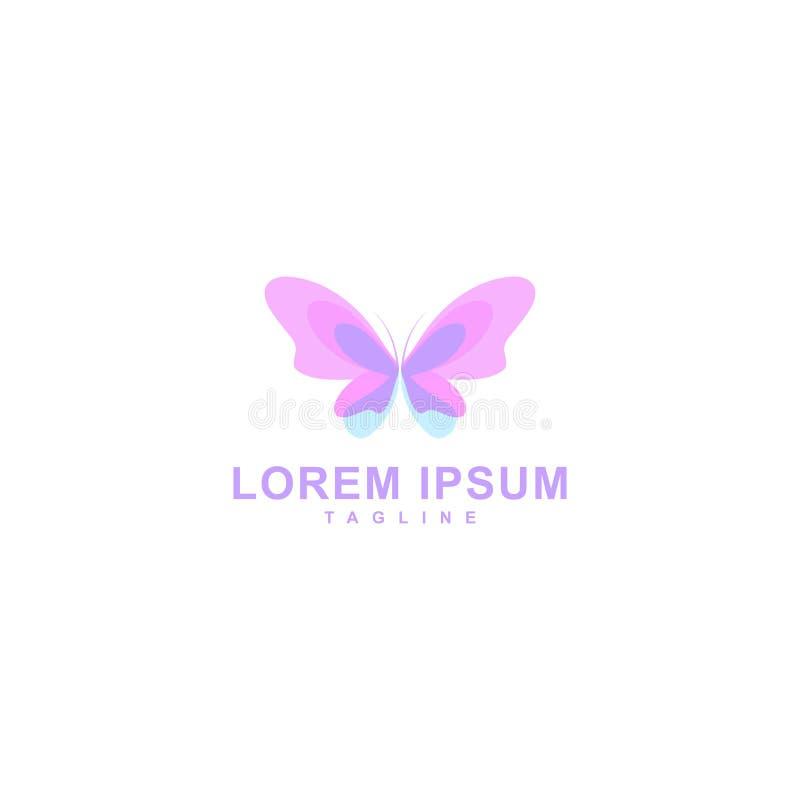 O projeto do logotipo da borboleta, forma da borboleta com cor completa isolou o fundo branco, ícone do vetor ilustração royalty free