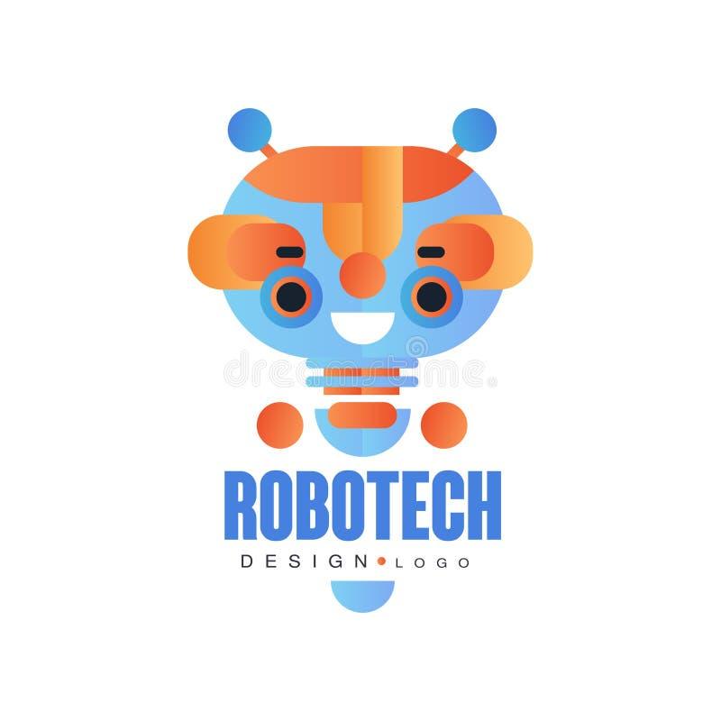 O projeto do logotipo de Robotech, o crachá com o robô amigável para a identidade da empresa, a tecnologia ou o computador relaci ilustração do vetor