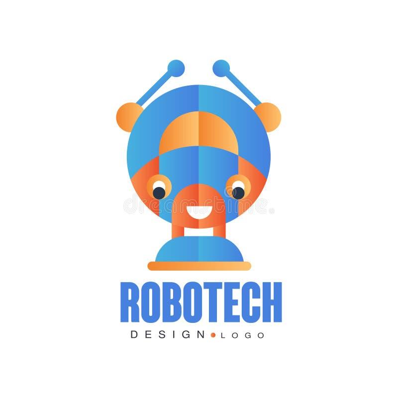 O projeto do logotipo de Robotech, o crachá para a identidade da empresa, a tecnologia ou o computador relacionaram a ilustração  ilustração stock