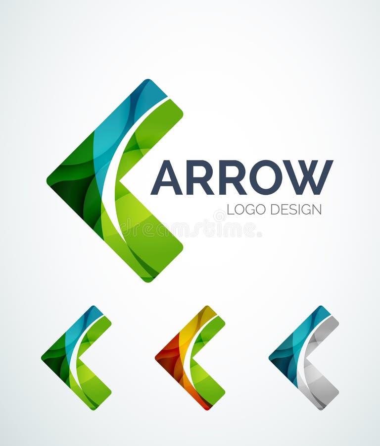O projeto do logotipo do ícone da seta feito da cor remenda ilustração stock