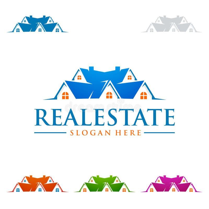 O projeto do logotipo do vetor dos bens imobiliários com casa e o sol dão forma ilustração royalty free