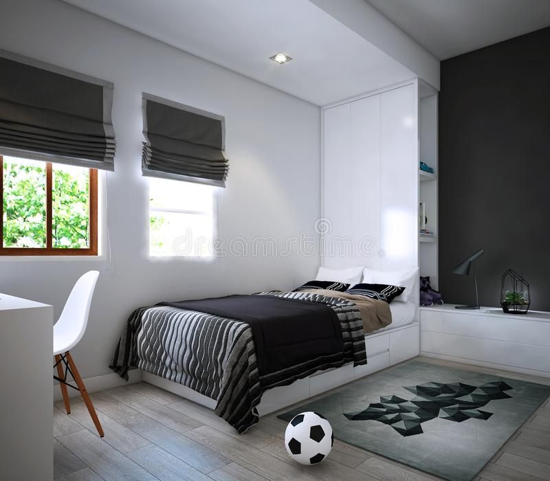 O projeto do quarto, interior do estilo acolhedor moderno ilustração stock