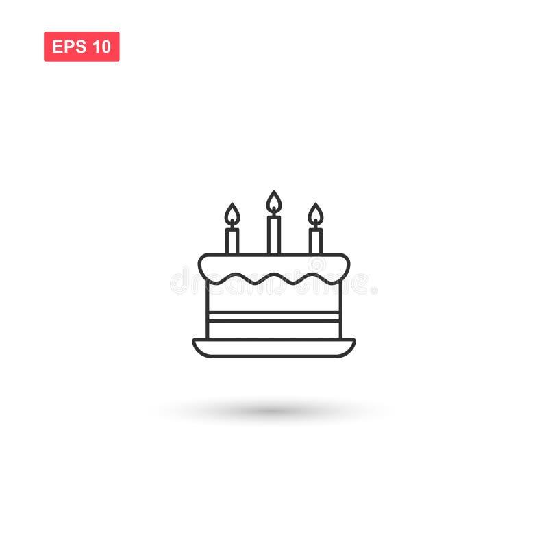 O projeto do vetor do ícone do bolo de aniversário isolou 4 ilustração do vetor