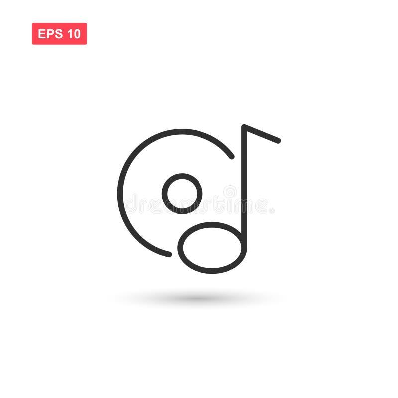 O projeto do vetor do ícone da nota da música do disco isolou 1 ilustração do vetor