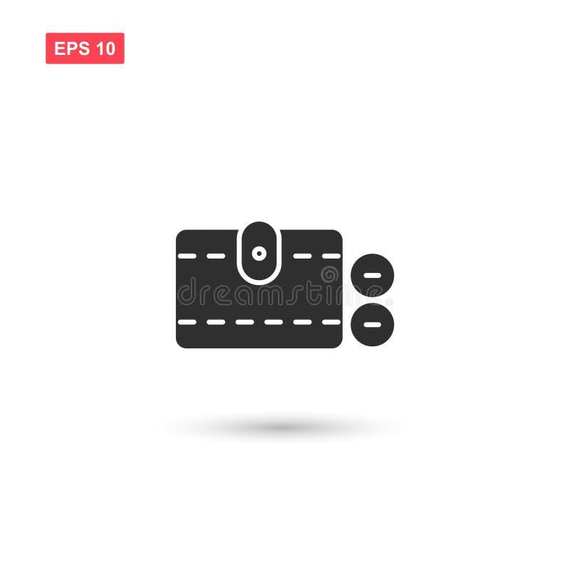 O projeto do vetor do ícone do dinheiro da carteira isolou 3 ilustração stock