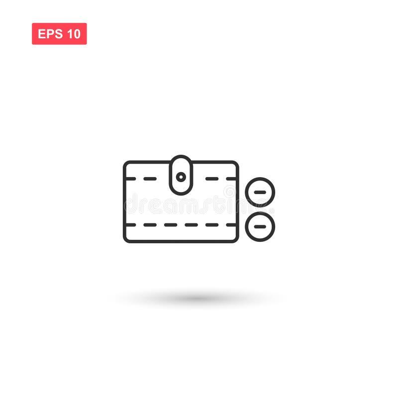 O projeto do vetor do ícone do dinheiro da carteira isolou 5 ilustração stock