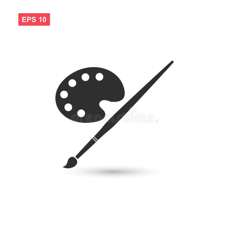 O projeto do vetor do ícone do pallete da pintura da arte isolou 3 ilustração do vetor
