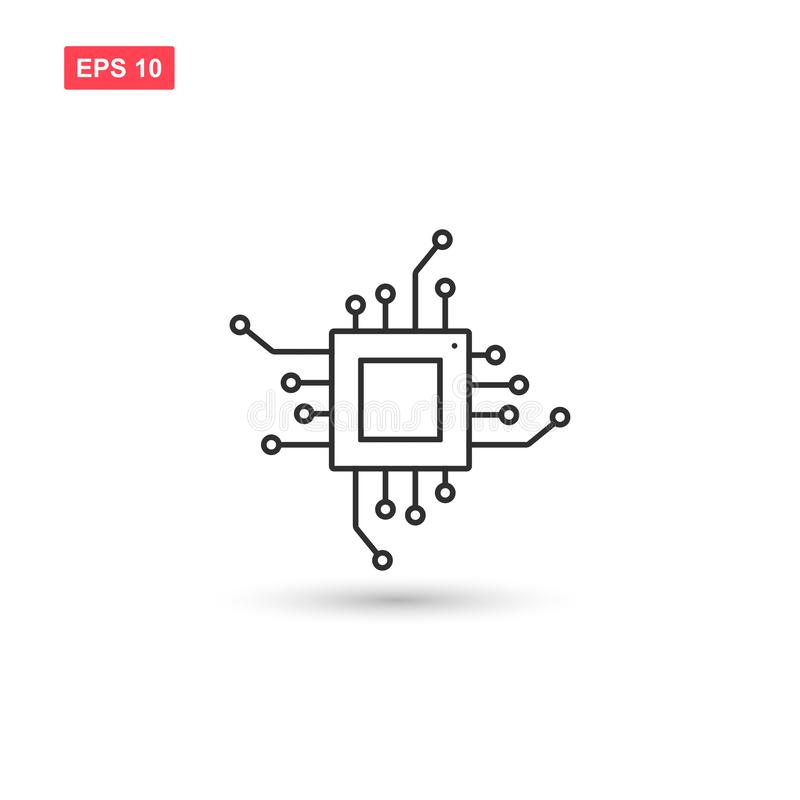 O projeto do vetor do ícone do processador central isolou 4 ilustração do vetor