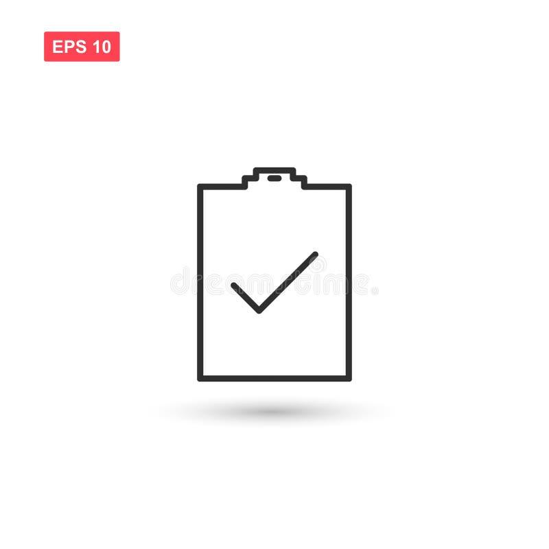 O projeto do vetor do ícone do teste da verificação isolou 3 ilustração stock