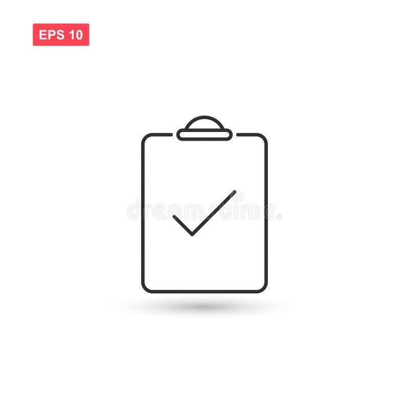 O projeto do vetor do ícone do teste da verificação isolou-se ilustração royalty free