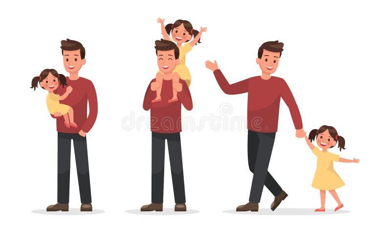 O projeto do vetor do caráter da família ajustou 3 ilustração stock