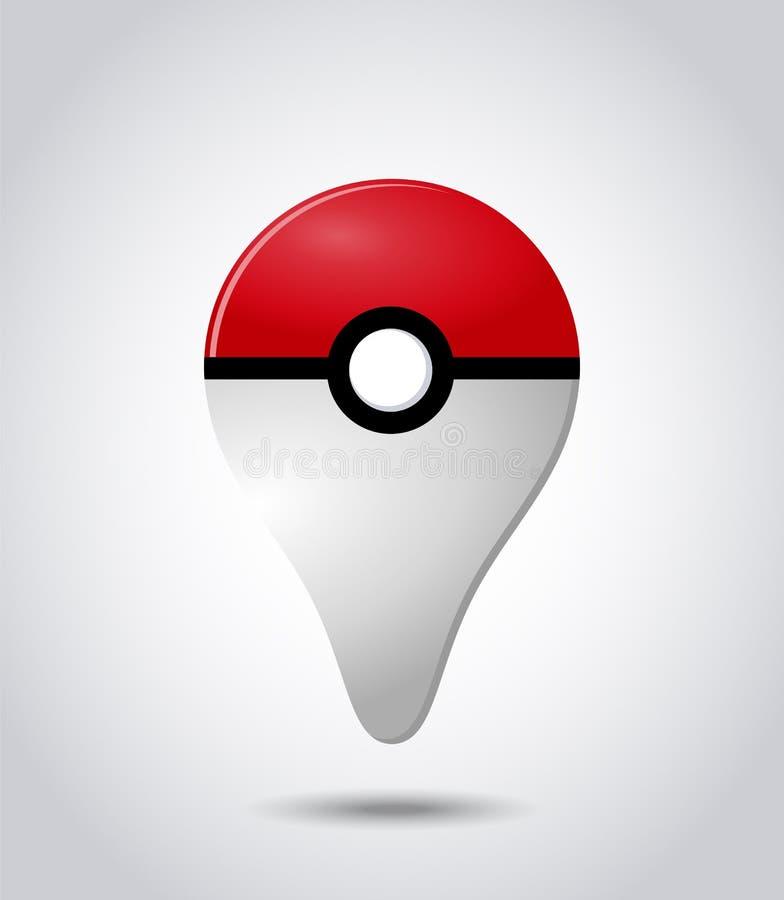 O projeto do vetor do pokemon vai mais o dispositivo do jogo ilustração stock