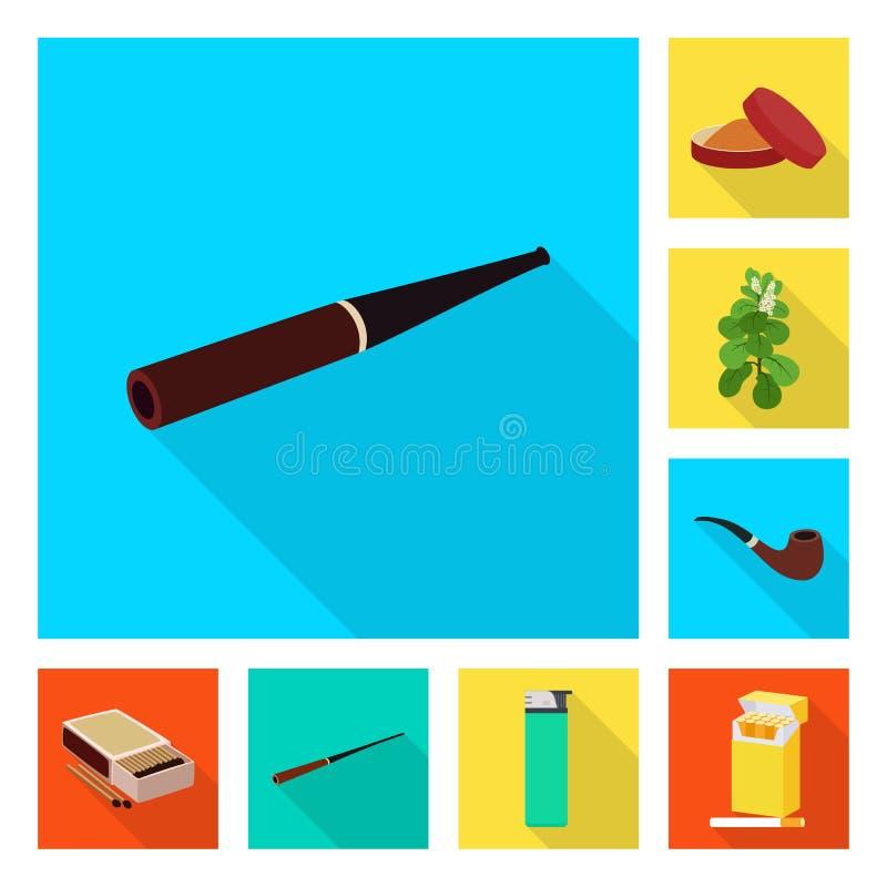 O projeto do vetor do fumo e as estat?sticas assinam Cole??o do fumo e para parar a ilustra??o conservada em estoque do vetor ilustração royalty free