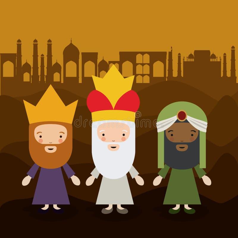 O projeto dos desenhos animados de três wisemen ilustração do vetor