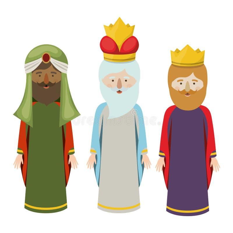 O projeto dos desenhos animados de três wisemen ilustração stock