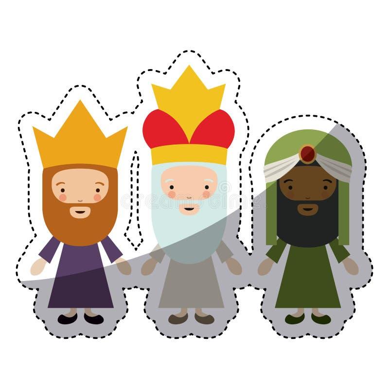 O projeto dos desenhos animados de três wisemen ilustração royalty free