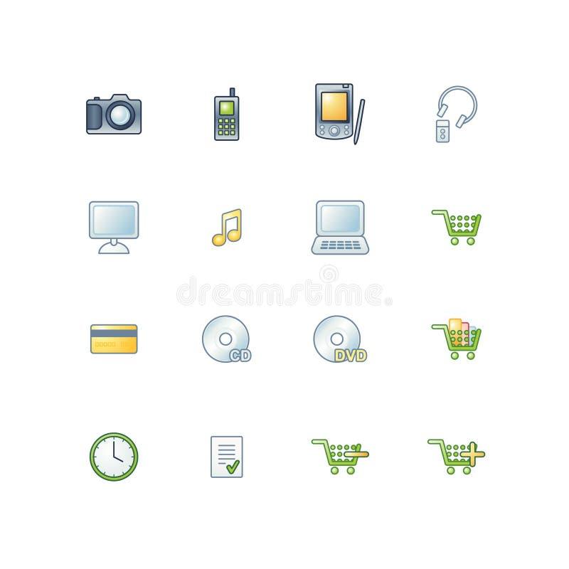 O projeto e-compra ícones ilustração royalty free