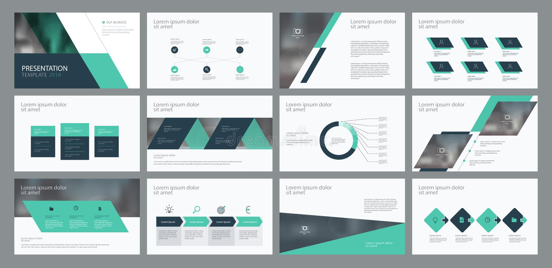 O projeto e a disposição de página do molde da apresentação do negócio projetam para o folheto, o informe anual e o perfil da emp ilustração do vetor