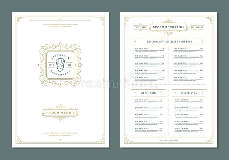 O projeto e a etiqueta do menu do restaurante vector o molde do folheto ilustração do vetor