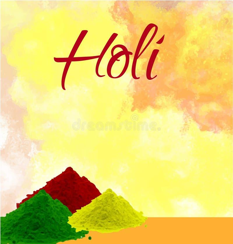 O projeto e a ilustração felizes do cartaz do holi com cor espirram fotografia de stock