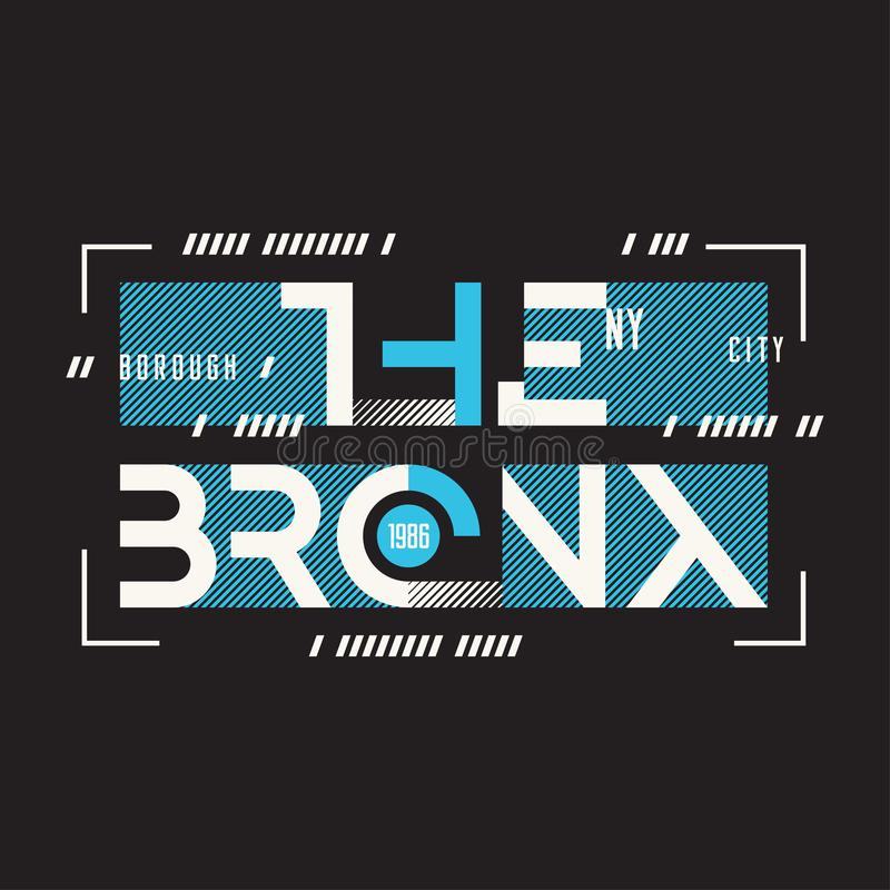 O projeto geométrico do t-shirt e do fato do vetor de Bronx New York, ilustração royalty free