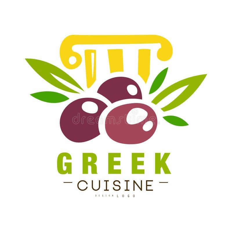 O projeto grego do logotipo da culinária, etiqueta continental tradicional autêntica do alimento pode ser usado para a loja, merc ilustração do vetor