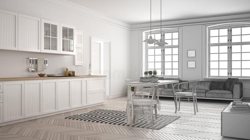 O projeto inacabado da cozinha branca minimalista, esboça o sumário ilustração royalty free