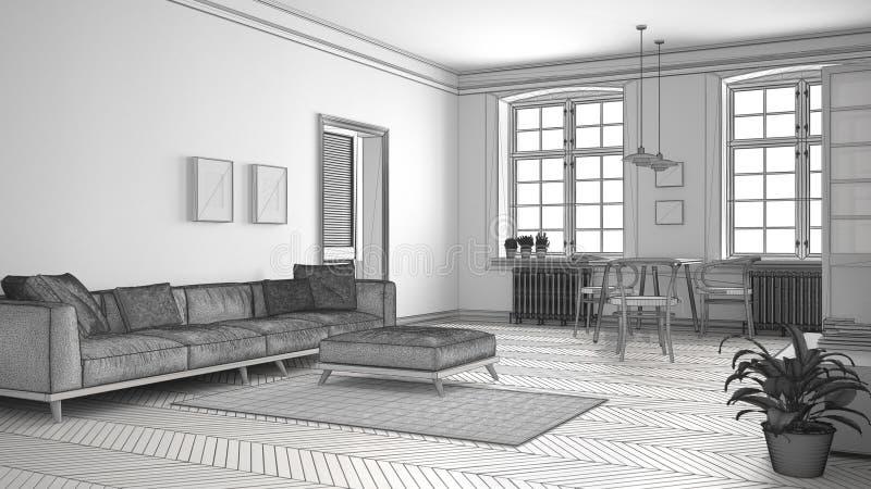 O projeto inacabado da sala de visitas minimalista, esboça o sumário dentro ilustração stock