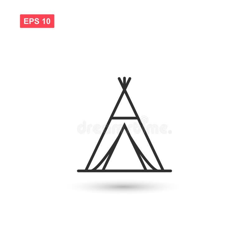 O projeto indiano do vetor do ícone da tenda isolou 3 ilustração do vetor