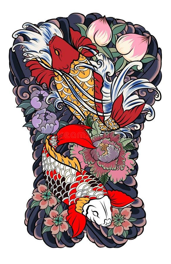 O projeto japonês da tatuagem suporta completamente o corpo Dois peixes da carpa do koi com respingo e peônia da água florescem,  ilustração stock