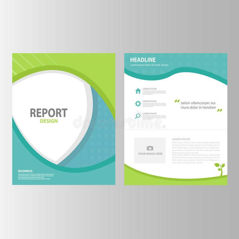 O projeto liso do ícone dos elementos do molde da apresentação do inseto do folheto do informe anual do verde azul ajustou-se anu ilustração do vetor