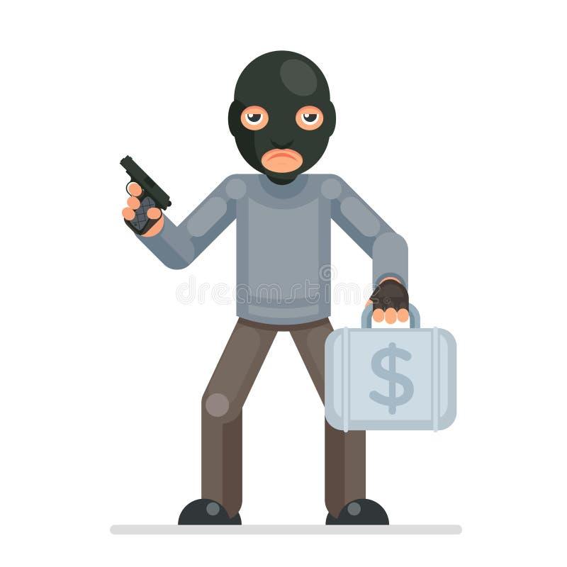 O projeto liso do caráter bulgar do trapaceiro dos desenhos animados do ladrão do mal da mala de viagem do dinheiro da estola do  ilustração do vetor
