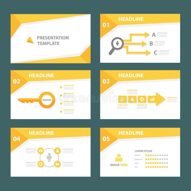 O projeto liso do elemento infographic de múltiplos propósitos amarelo ajustou-se para a apresentação ilustração stock