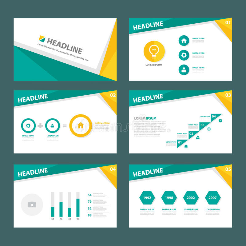 O projeto liso do elemento infographic de múltiplos propósitos verde e amarelo ajustou-se para a apresentação ilustração do vetor