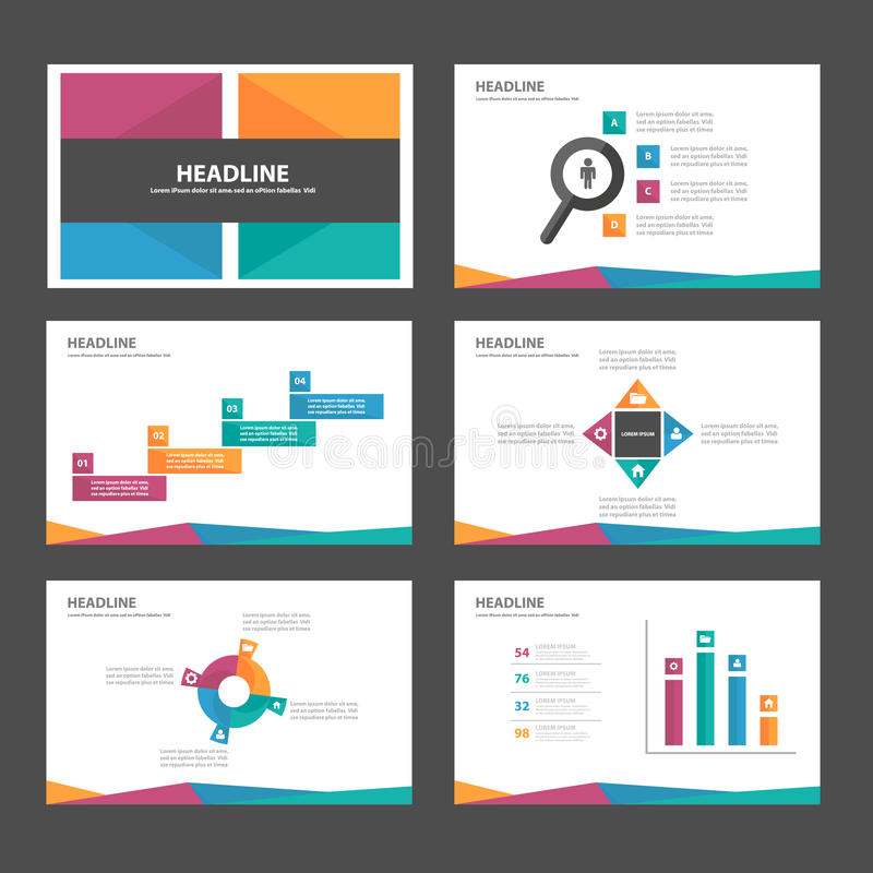 O projeto liso do molde verde alaranjado azul roxo da apresentação do ícone dos elementos de Infographic ajustou-se anunciando o  ilustração royalty free