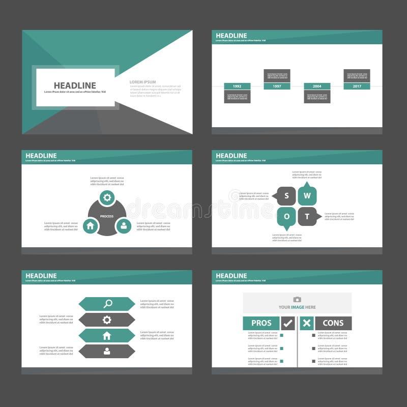 O projeto liso do molde verde e preto da apresentação do ícone dos elementos de Infographic ajustou-se anunciando o inseto do fol ilustração stock