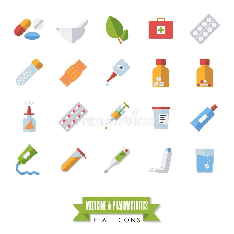 O projeto liso do produto farmacêutico e da medicina isolou o grupo do vetor dos ícones ilustração do vetor