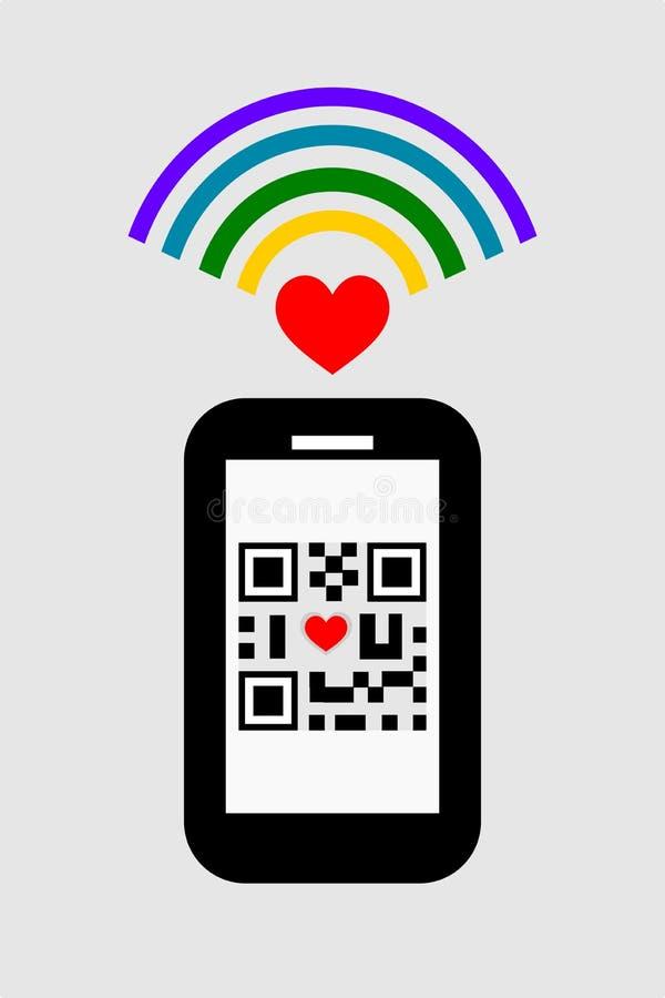O projeto liso do smartphone, o sinal do wifi e QR codificam o símbolo do ` do ` do whit eu te amo ilustração royalty free