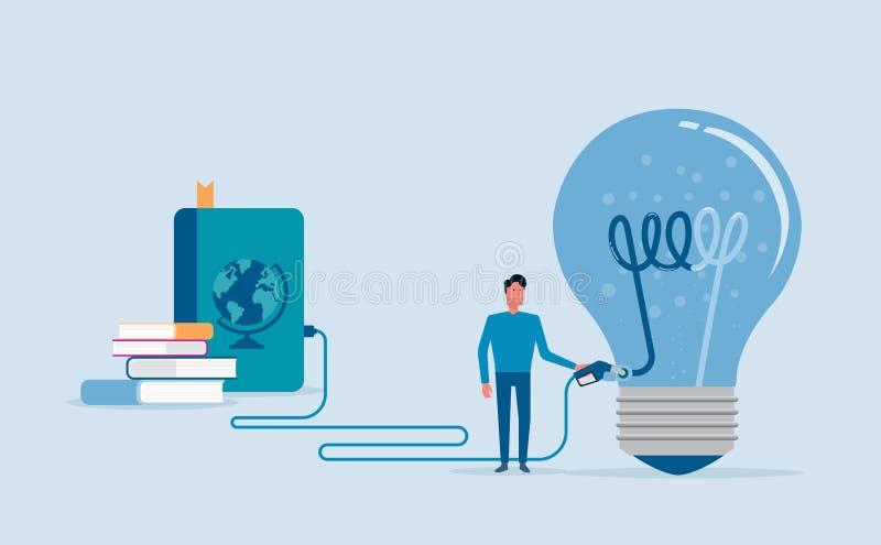O projeto liso do vetor para criativo enche-se acima e conceito do poder de cérebro ilustração stock