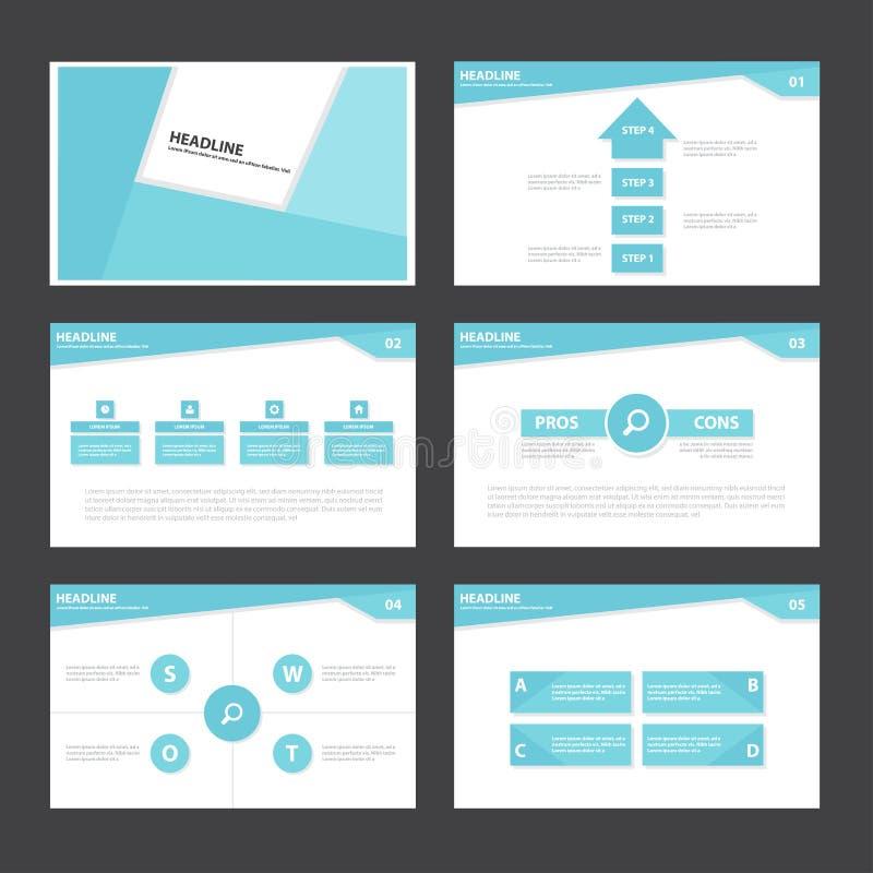 O projeto liso dos elementos abstratos azuis de Infographic do molde da apresentação ajustou-se para o mercado do folheto do inse ilustração stock