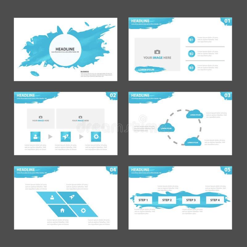 O projeto liso dos elementos abstratos de Infographic do molde da apresentação da água azul ajustou-se para o mercado do folheto  ilustração royalty free