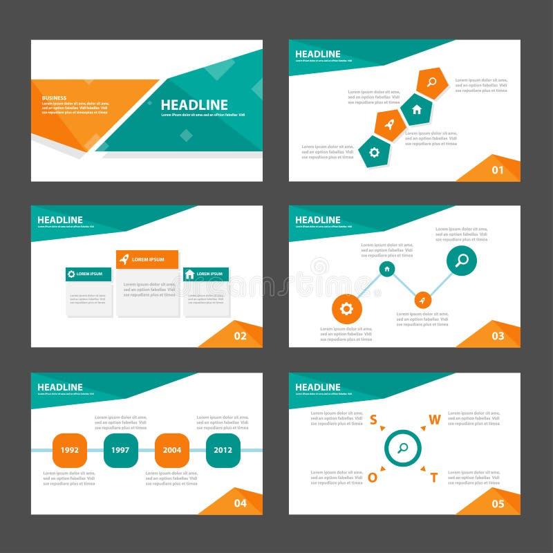 O projeto liso dos elementos alaranjados e verdes de Infographic do molde da apresentação ajustou-se para o mercado do folheto do ilustração stock